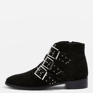Topshop Krown Suede Buckle Studded Ankle